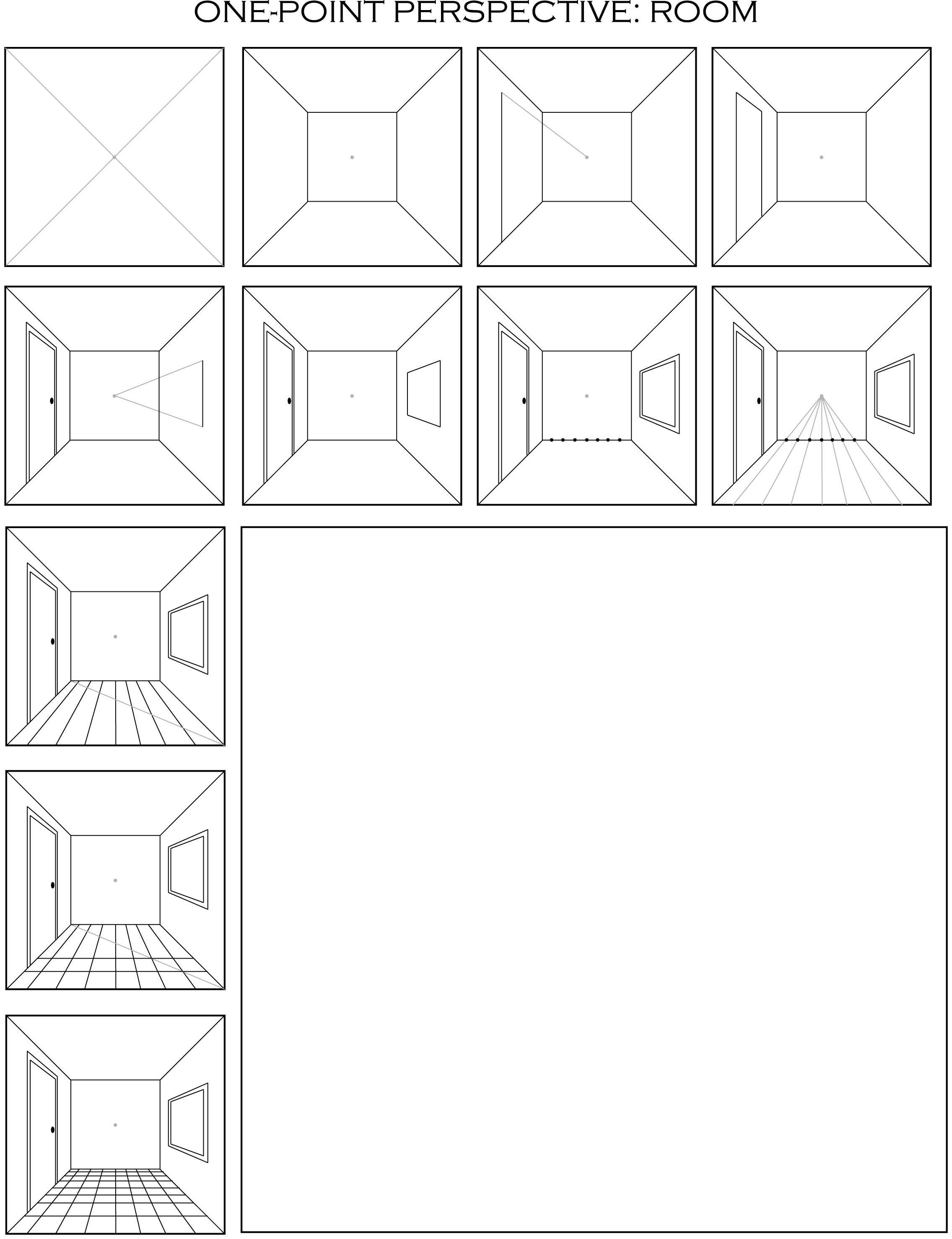 one point perspective room step by step