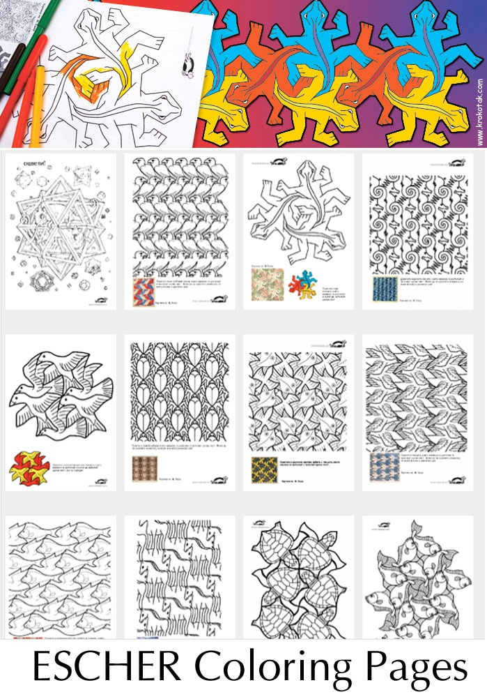 Lessen patronen woord beeldclub for Mc escher tessellations coloring pages